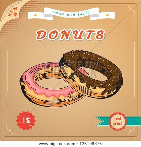 Cute donut. Vector Engraving illustration. Vintage Donuts Poster. Delicious donut dessert. Sweet donut advertising banner. With sprinkle poster