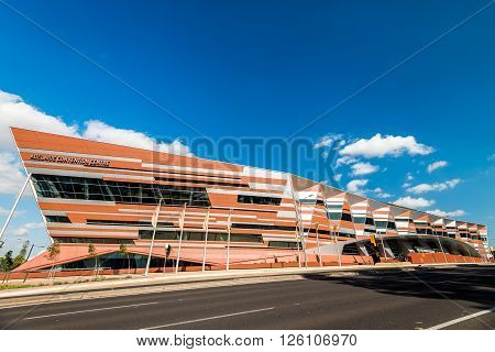 Adelaide Australia - January 3 2016: Adelaide New Convention Centre view from the Montefiore Road on a bright day