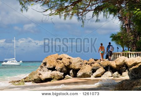 a sunny day in a barbados beach poster