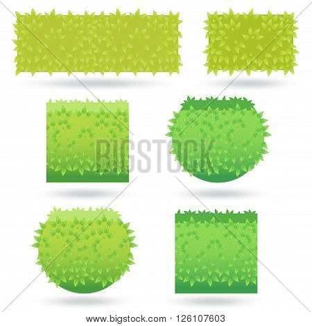 Bushes icons different colors. Green bushes and Grass