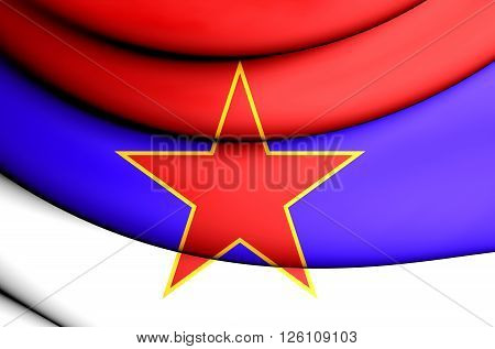 3D Flag of Socialist Republic of Serbia (1943-1992). poster