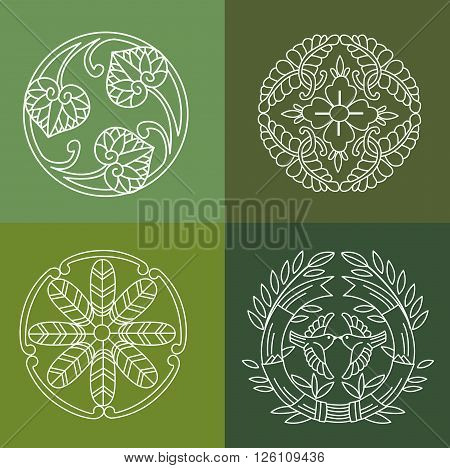 Monograms. Line Design Floral Elements For Logo Frames And Borders In Modern Style. Vector Set. Floral Elements Vector. Floral Elements Of Design. Vintage Floral Element. Hand Drawn Floral Element.