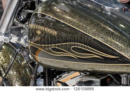BRNO ,CZECH REPUBLIC-MARCH 4,2016: Close up fuel tank of motorcycle Harley Davidson Softail Breakout on International Fair for Motorcycles on March 4,2016 in Brno in Czech Republic