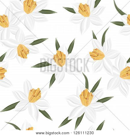 Seamless vector jonquil flower spring pattern background narcissus
