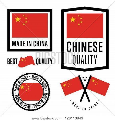 Made in China label set. Vector China flag. Symbol of quality. Manufacturing by China. Tags and sticker collection. Vintage and modern stamp. China badge set. Chinese quality.