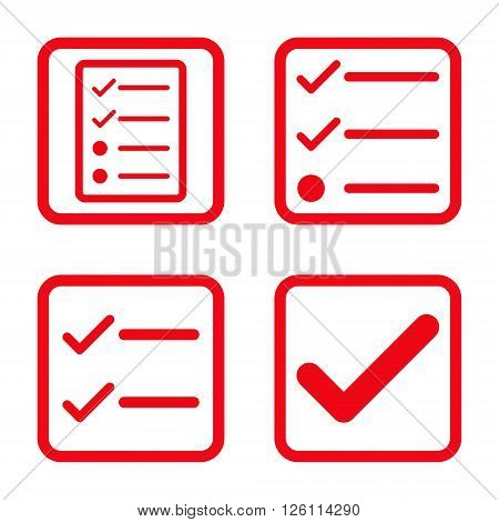 Valid vector icon. Image style is a flat icon symbol inside a square rounded frame, red color, white background.