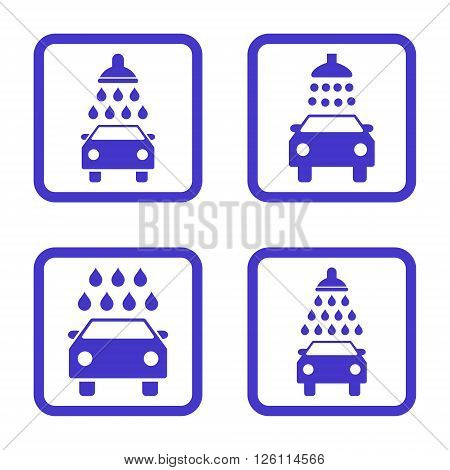 Carwash vector icon. Image style is a flat icon symbol inside a square rounded frame, violet color, white background.