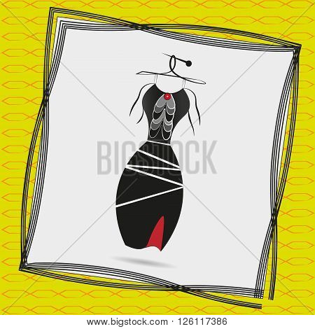 Image a black cocktail dress with frills Illustration of a black cocktail dress with frills on a hanger in a frame on a yellow background with a pattern
