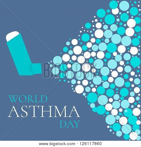 World Asthma Day concept with a spray inhaler. Bronchial asthma awareness sign. National asthma day. Asthma solidarity day. Vector illustration.
