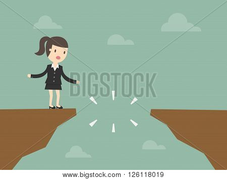 Business woman in front of a gap
