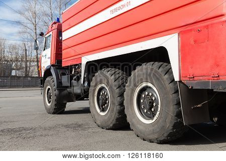 Closeup Photo Of Red Kamaz 43253 Fire Truck