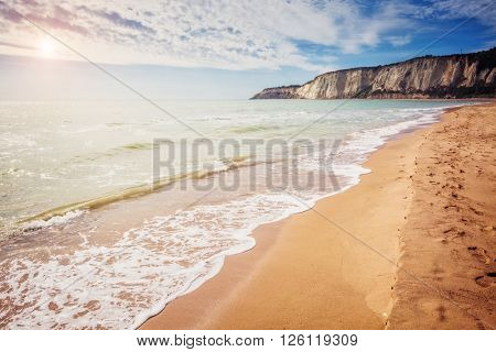 Fantastic view of the yellow sand on a sunny day. Picturesque scene. Location place Island Sicily (Sicilia), Natural Reserve Foce del Fiume Platani, Italy, Europe. Mediterranean sea. Beauty world.