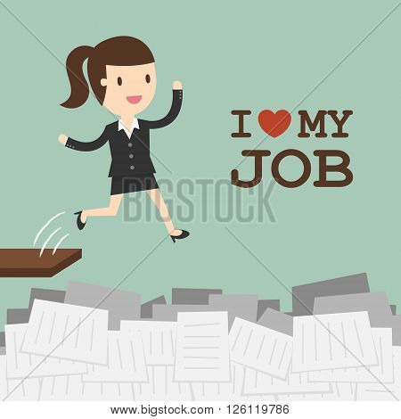 I Love My Job. Business Concept Cartoon Illustration.