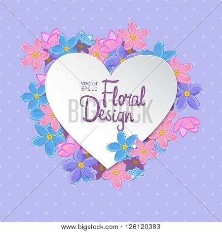 Floral heart shaped vector frame. Forget-me-not flowers on violet polka dot background. Hand-drawn flowers and place for your text.