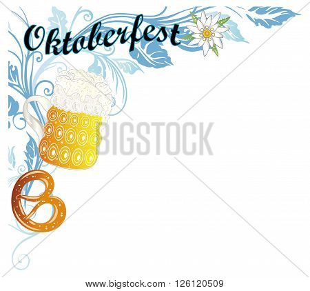 Oktoberfest decoration, leaves with pretzel, edelweiss and beer.