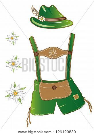 Oktoberfest vector set, edelweiss, hat and leather pants.