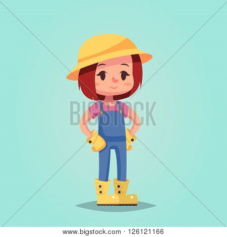 girl woman happy cartoon gardener vector illustration esp10