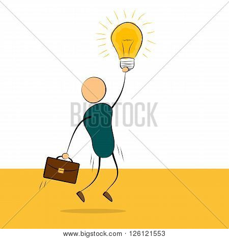 Vector cartoon illustration jumping businessman with idea lamp in hand and portfolio. Concept of successful employee good idea value proposition