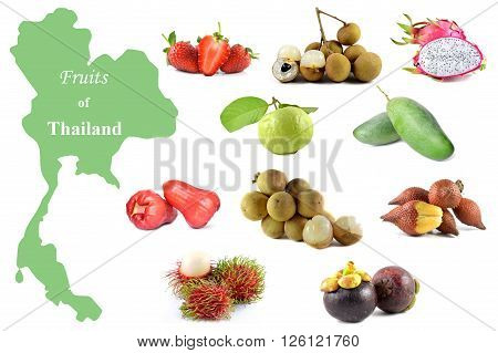 Fruits of Thailand on a white background