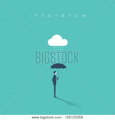 Insurance concept with businessman holding umbrella as protection. Risk investment or management abstract background. Eps10 vector illustration.