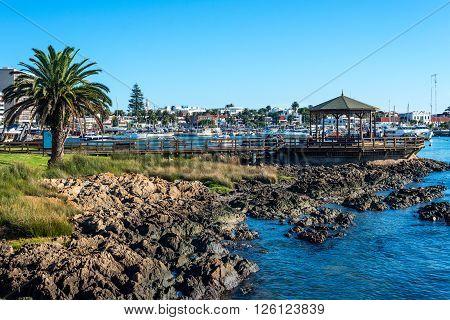Maldonado April 14 2016 - Yachts of the rich people in Punta del Este harbor Uruguay
