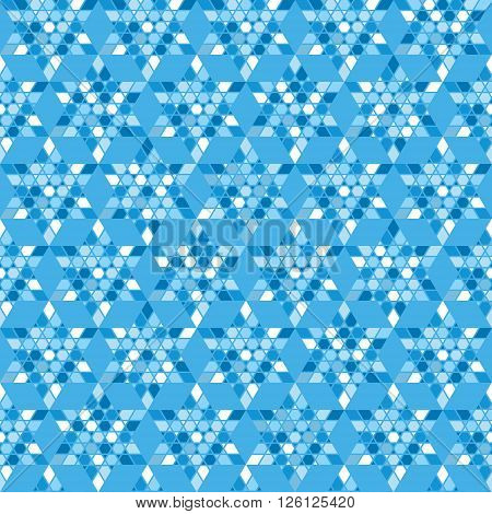 Mosaic with blue triangles. Abstract geometric seamless background - triangles tessellation. Vector illustration.