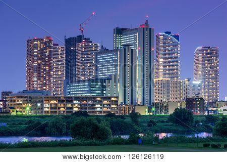 Japan skyline at the Tamagawa River.