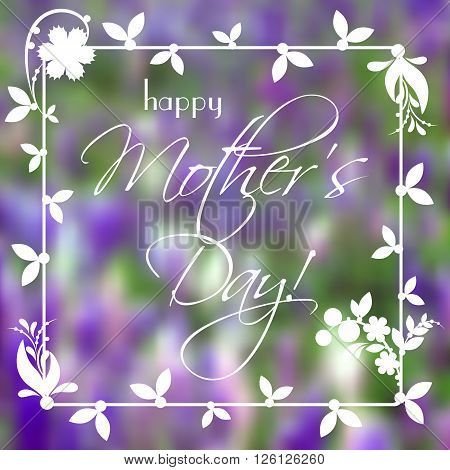 Greeting card with white flower ornament on violet floral blurred background. Postcard with wishes for Women's Day Mother's Day Birthday Anniversary. Vector illustration