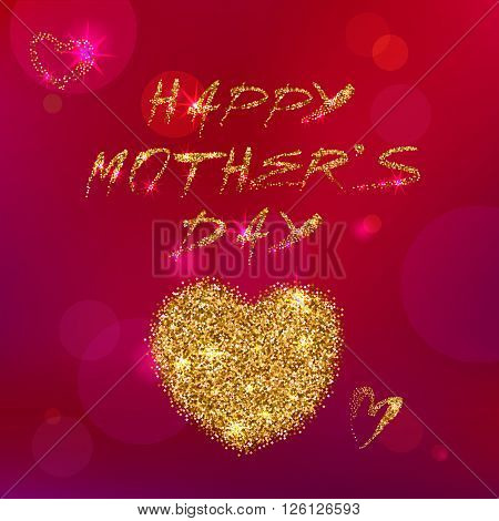 Vector Happy Mothers's Day Typography on a Pink Abstract Background. Gold Handwritten Letters.