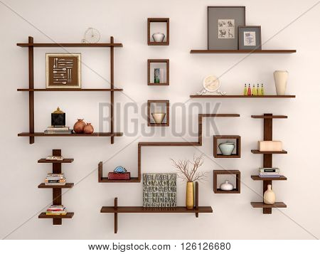 3d illustration of Wooden randomly arranged on the light wall shelves with different decor and facilities.