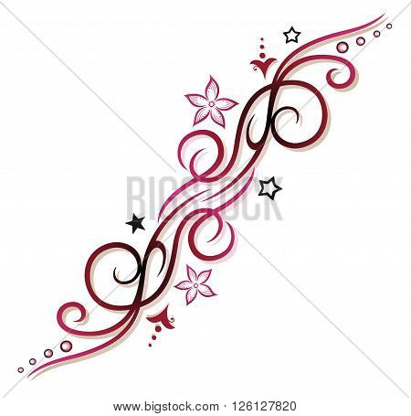 Feminine Tribal, pink and red, with flowers and stars.