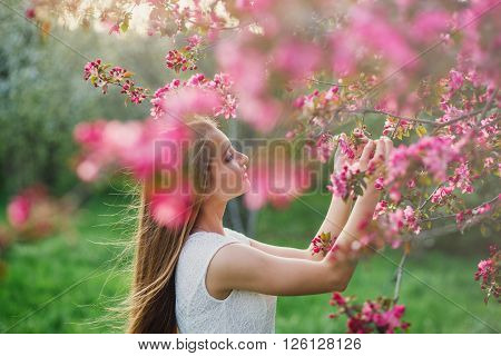 Long-haired girl holding in his hand a flowering blossom branch of Sakura. Hair blowing evening breeze.