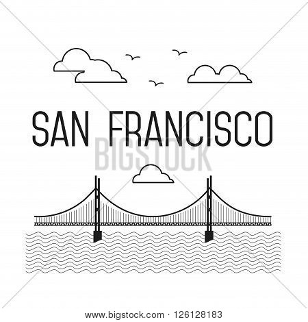 Monochrome San Francisco Golden Gate Bridge. San Francisco vector landmark illustration. Line flat style. San Francisco view
