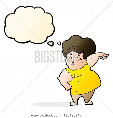 cartoon happy overweight lady with thought bubble
