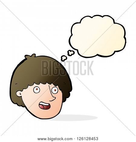 cartoon happy male face with thought bubble