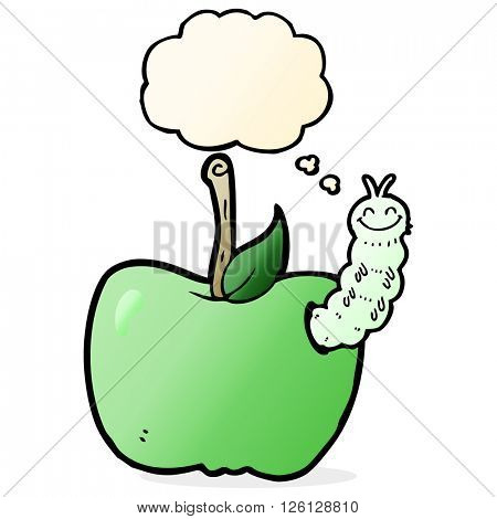 cartoon apple with bug with thought bubble