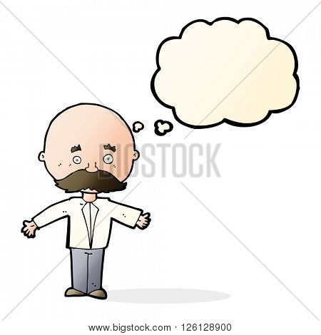 cartoon man with mustache with thought bubble