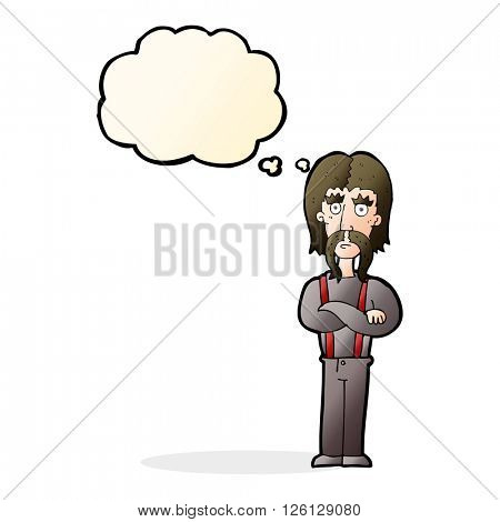cartoon long mustache man with folded arms with thought bubble