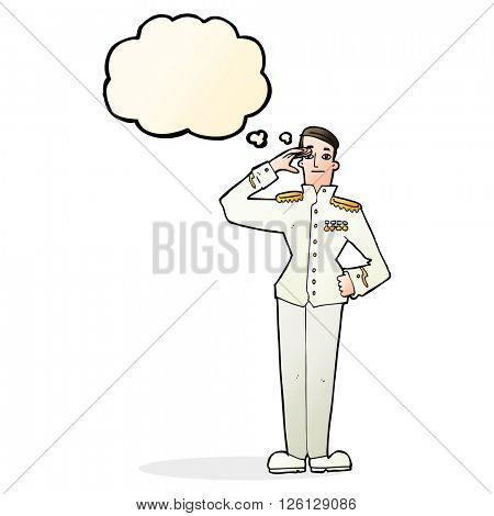 cartoon military man in dress uniform with thought bubble