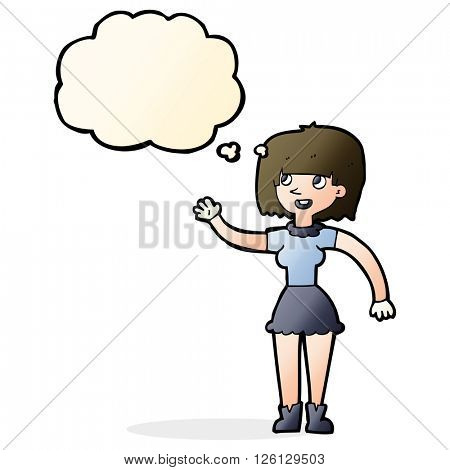 cartoon girl waving with thought bubble