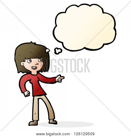 cartoon girl pointing with thought bubble