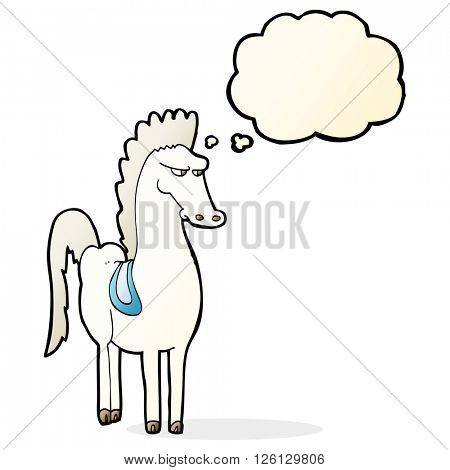 cartoon horse with thought bubble