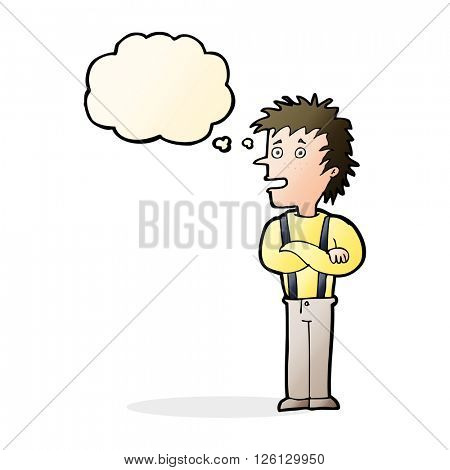 cartoon boy with folded arms with thought bubble