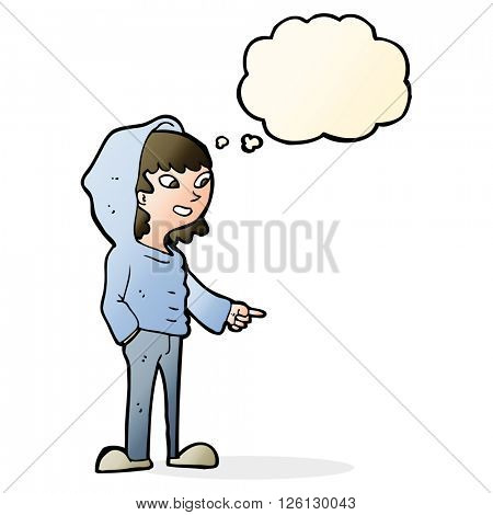 cartoon pointing teenager with thought bubble