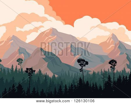 Horizontal illustration coniferous forest with mountains and cloudy sky.