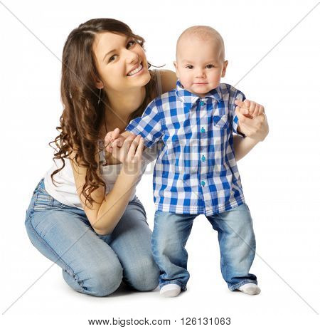 Young mother with her son isolated