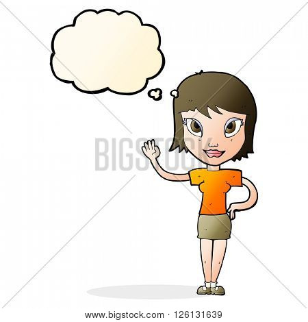 cartoon woman waving with thought bubble