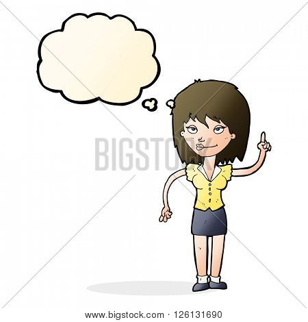 cartoon woman with idea with thought bubble