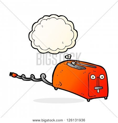 cartoon toaster with thought bubble