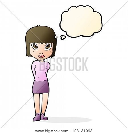 cartoon woman standing with thought bubble